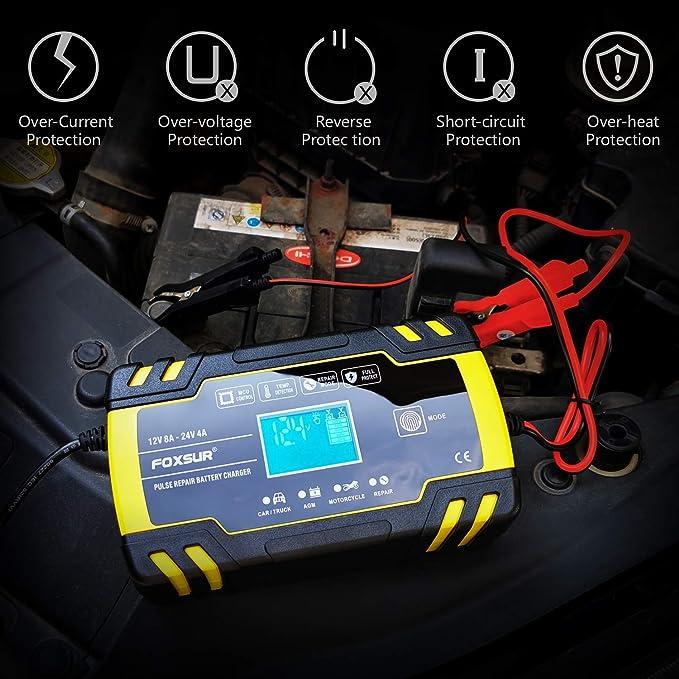 Etc 12V 8Amp//24V 4Amp Booster Voiture Mainteneur Intelligent AVCE /Écran LCD Plusieurs Protections and 6 Modes Charge BUDDYGO Chargeur de Batterie Tondeuse /à Gazon pour Batterie de Voiture Moto