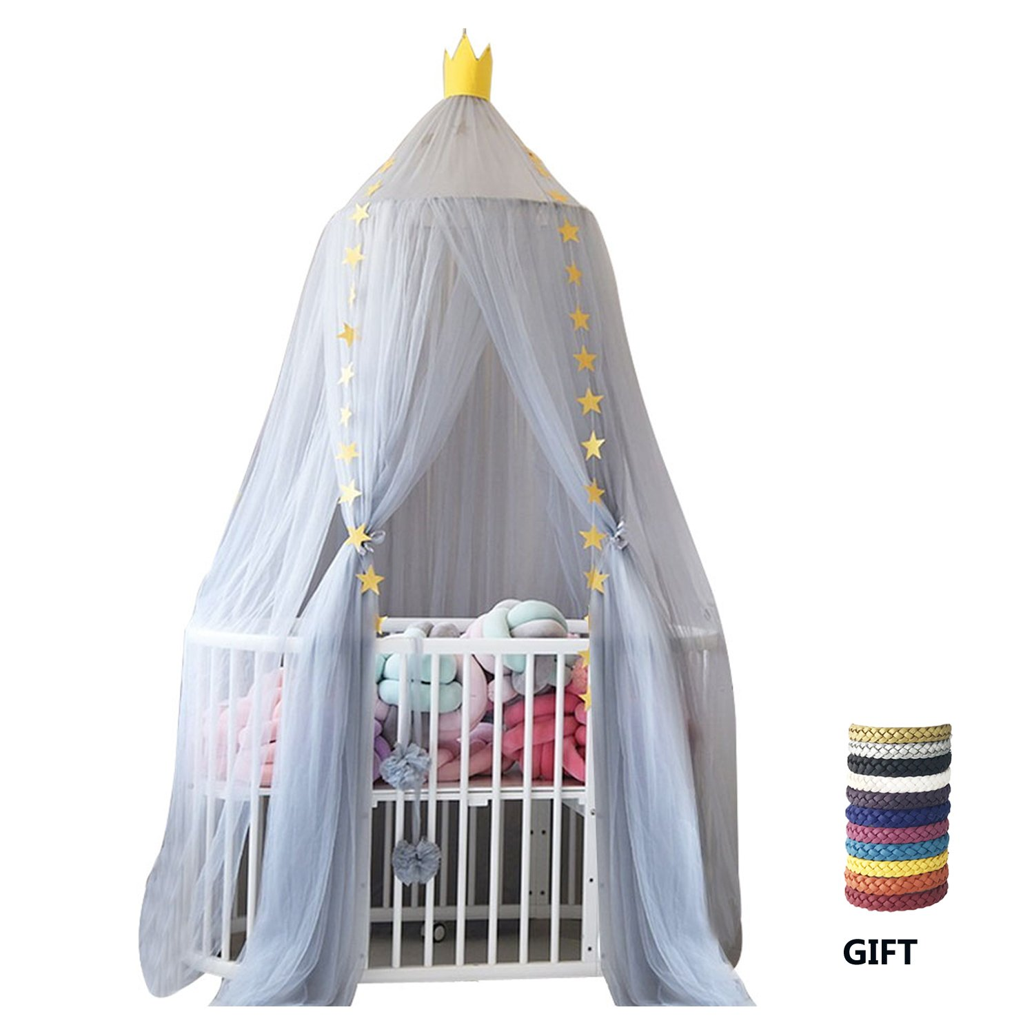 Xinyi Children Bed Mosquito Net for Kids, Crib Bed Canopy Round Dome Hanging Netting Tent Bedding for Boys and Girls Playing Reading Indoor Lace Decoration Grey