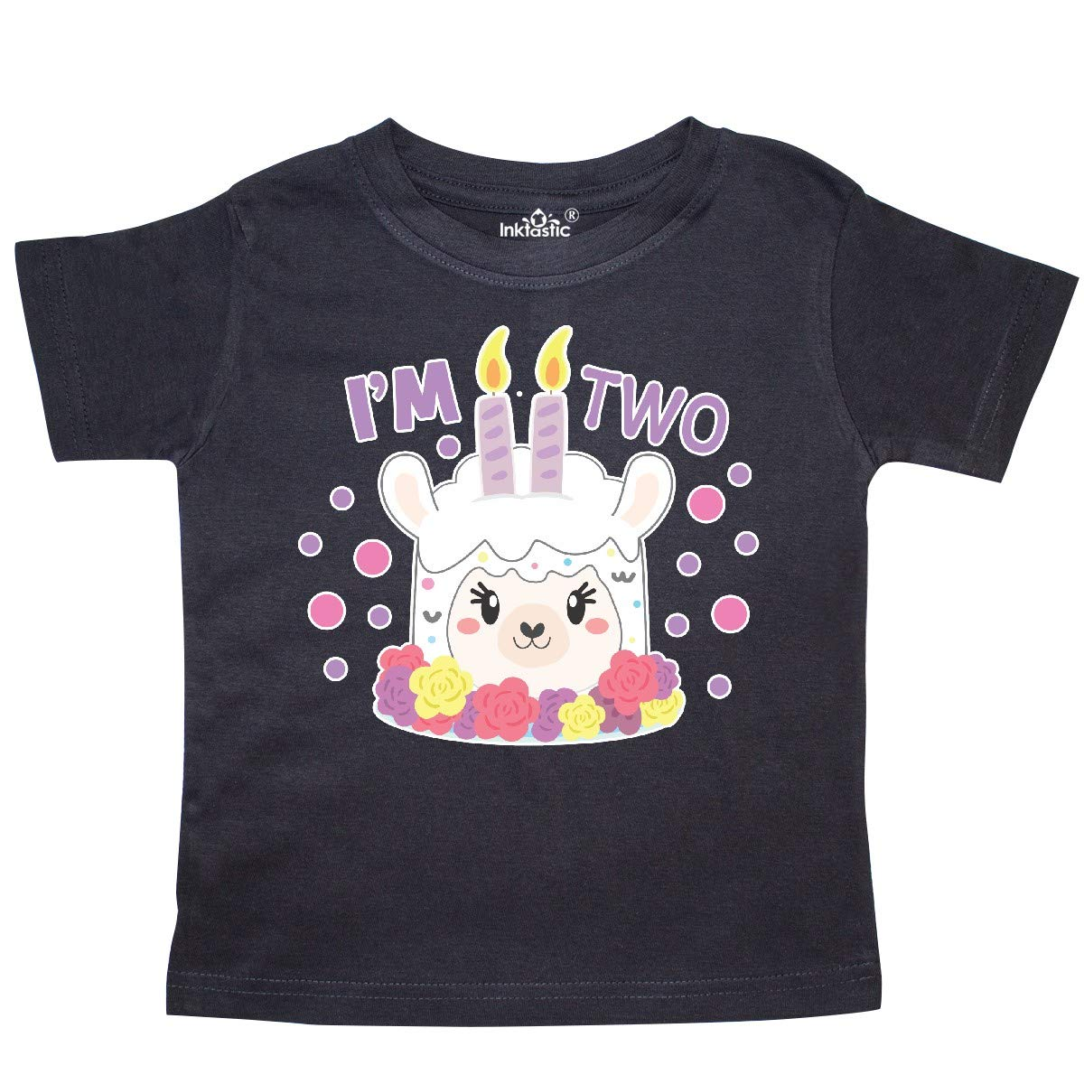 inktastic Im 2 with Flowers and Cute Llama Cake Toddler T-Shirt