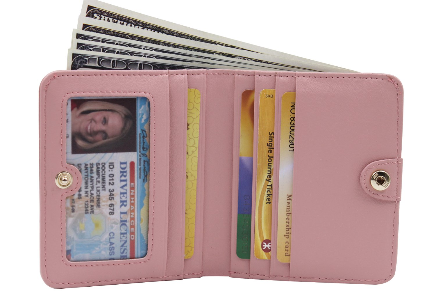 Women's Small Compact Bi-fold Leather Pocket Wallet Credit Card Holder Case with ID Card Window (New Pink) by ARRIZO (Image #5)