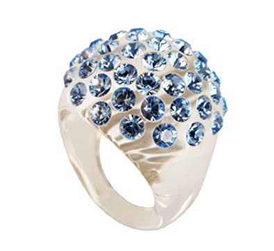 0b3d72c05 adreani- Women's Ring with Domed Pave Swarovski Large Crystal 09 (Light  Sapphire on Transparent, 6): Amazon.co.uk: Jewellery