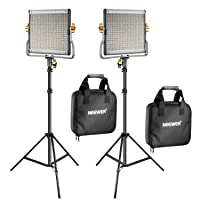 2-Pk Neewer Dimmable Bi-Color 480 LED Video Light and Stand Kit Deals