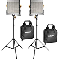 Neewer 2 Packs Dimmable Bi-Color 480 LED Video Light and Stand Lighting Kit Includes: 3200-5600K CRI 96+ LED Panel with…