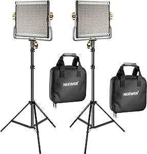 Neewer Kit de 2 Unidades Bi-color 480 LED Video Luz Regulable con Soporte de Luz Incluye: 3200-5600K CRI 96+ LED Panel con U Bracket, 19 Centímetros Tripié de Luz para YouTube Estudio Video Shooting