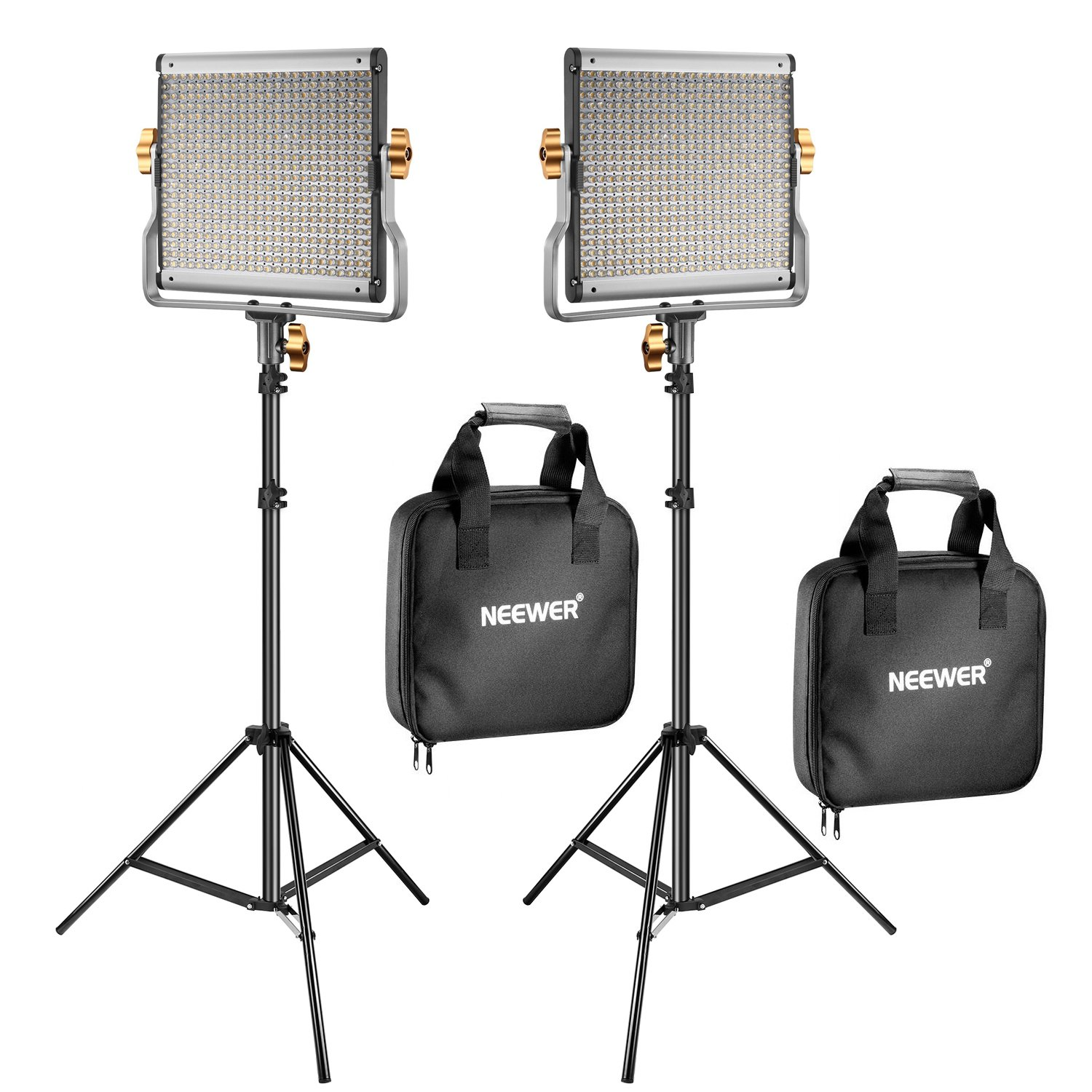 Neewer 2 Packs Dimmable Bi-color 480 LED Video Light and Stand Lighting Kit Includes: 3200-5600K CRI 96+ LED Panel with U Bracket, 75 inches Light Stand for YouTube Studio Photography, Video Shooting by Neewer