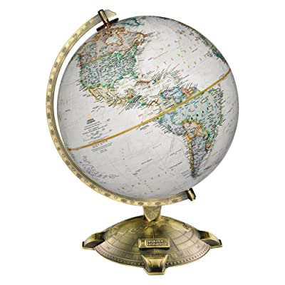 "Replogle Allanson, Antique Ocean, National Geographic Cartography, Up-to-Date and Detailed, Desktop Globe, Raised Relief, Antique Plated Die-Cast base (12""/30cm diameter): Replogle Globes: Home & Kitchen"