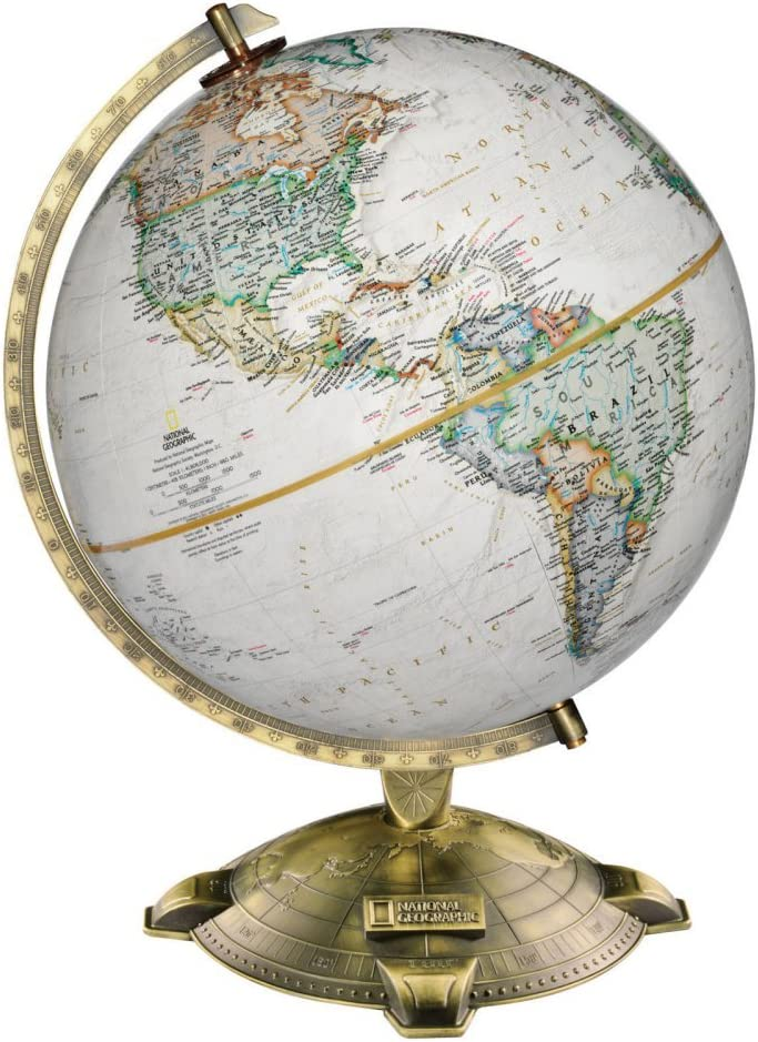 "Replogle Allanson, Antique Ocean, National Geographic Cartography, Up-to-Date and Detailed, Desktop Globe, Raised Relief, Antique Plated Die-Cast base (12""/30cm diameter)"