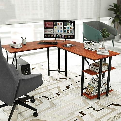 Reviewed: L Desk DEWEL Reversible L Shaped Desk Corner Computer Desk 55''X66'' Gaming Desk PC Table Home Office Desk Writing Workstation