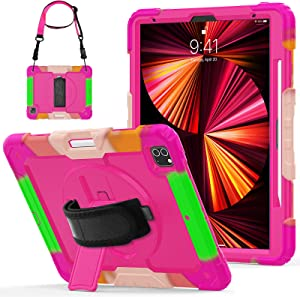 Herize iPad 12.9 Case 2020 with Screen Protector Pen Holder Swivel Stand Shoulder Strap   Full Body High Impact Resistant Kidsproof Drop Protection Rubber Case for iPad Pro 12.9 Rose Red Camouflage