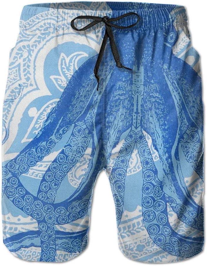 Mens Octopus Dance Blue Summer Swim Trunks Beach Shorts Board Cargo Shorts Quick-Drying