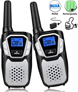 Walkie Talkies Rechargeable, Long Range Two-Way Radios Up to 5 Miles in Open Fields 22 Channels FRS/GMRS VOX NOAA UHF Handheld Walky Talky for Adults for Camping Hiking Trip (Sliver 2 Pack)
