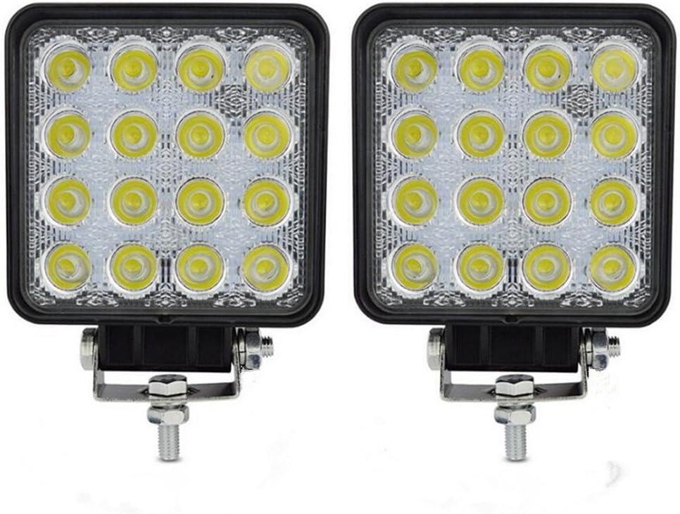 2x 48W Lámpara de Trabajo 12V-24V Faros Adicionales Faro Invertido Luces diurna Luz de la luz de los faros de campo a traves de SUV UTV ATV faros