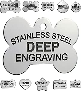 Pawsitively Pet Tags Stainless Steel Custom DEEP Engraved Pet ID Tags Personalized Front and Back Dog Tags for Dogs and Cats