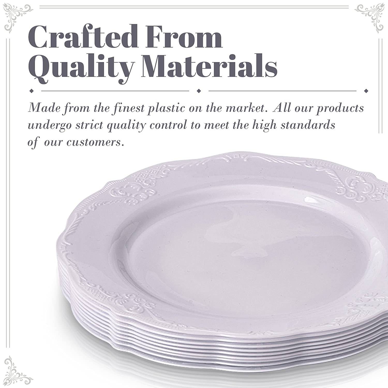 VAJILLA PARA FIESTAS DESECHABLE DE 20 PIEZAS | 20 platos para postre| Platos de plástico resistente | Elegante aspecto de porcelana fina | Para bodas y ...