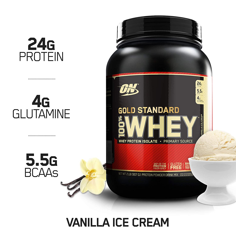 OPTIMUM NUTRITION GOLD STANDARD 100 Whey Protein Powder From Whey Isolates, Vanilla Ice Cream – 2 Pound