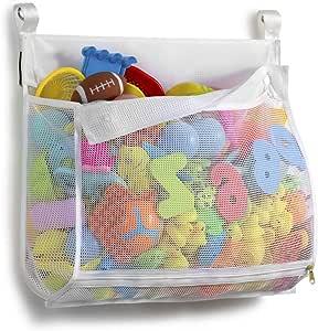 Tenrai Clever Zippered Mesh Bath Toy Organizer, Multiple Ways to Hang, Extra Large Opening Bathroom Toy Holder, Large Capacity Multi Use Bathtub Toy Storage Bag,(1 Large , White)