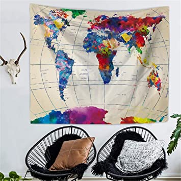 Amazon joehyp large tapestry colorful world map psychedelic joehyp large tapestry colorful world map psychedelic burning tie dye hippy wall hanging polyester durable non gumiabroncs Choice Image