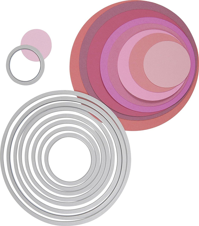Sizzix Die Cut Bundle: Circle Framelits Dies (set of 8) Sidekick