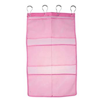 OUNONA Hanging Mesh Shower Caddy Organizer With 6 Pockets Curtain Rod Liner Hooks Bathroom Wall