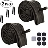 Huacheng 2 Pack Bike Tube, with 6 Round Patches and 6 Tire Levers, Bicycle Inner Tube Tyres Road MTB Bike Interior Tire Tube Anti Puncture Tube for Bike Bicycle Tire