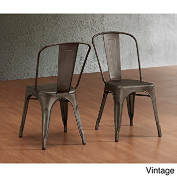 tabouret bistro steel side chairs set of 2 chairs