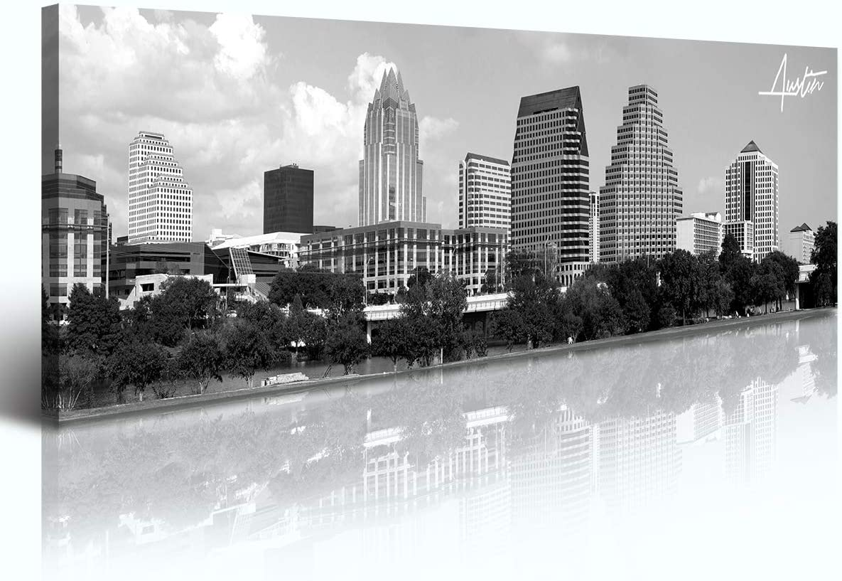 Austin Skyline Wall Art - Black and White Canvas Prints City Pictures Poster Artwork Home Decor Texas Panorama Cityscape Painting for Bedroom Office Living Room Decoration - Ready to Hang 13.8