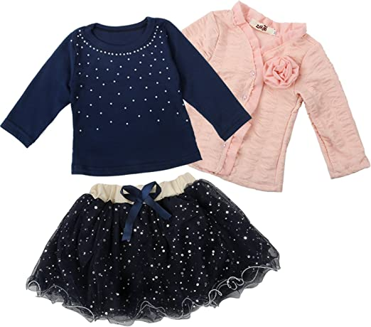 Toddler Kid Girls T-shirt Long Sleeve Tops Outfits Clothes Size2T-6X