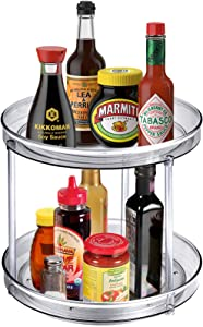 2-Tier Lazy Susan Turntable Food Storage Container for Kitchen, Cabinets, Pantry, Refrigerator, Countertops, BPA Free - Double Spinner Organizers Rack for Spices, Condiments - 9