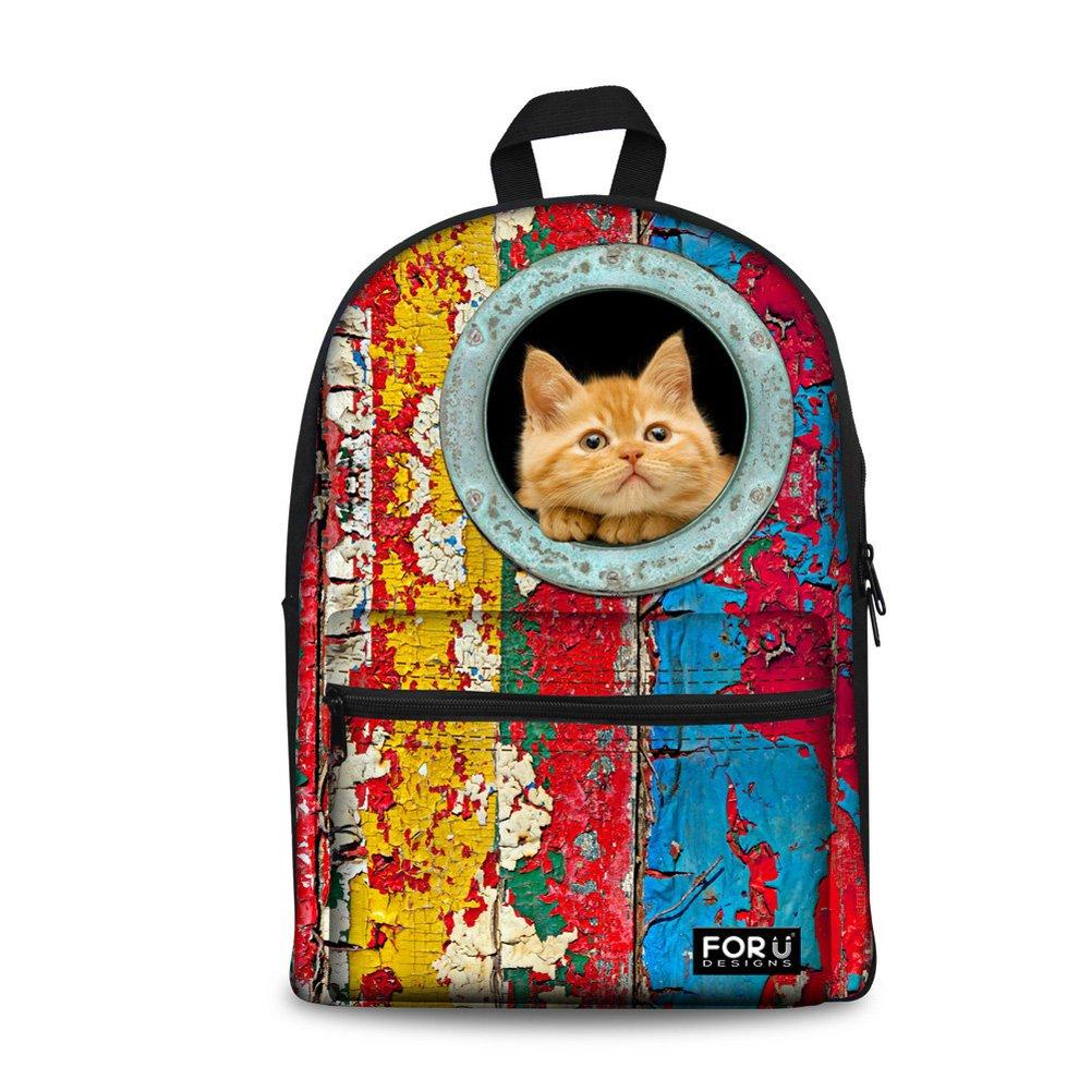 pour U Designs Loisirs créatifs coloré Cat Campus Sac à Dos Motif Animal Campus Sac à Dos d'école pour College Fille Garçon For U Designs C0055J