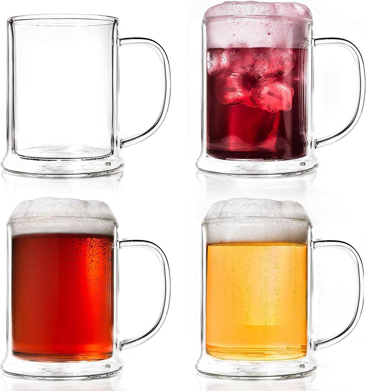 Creano Vaso de cerveza de doble pared de 500 ml, vidrio térmico, jarra de cerveza, jarras de cerveza (4 x 500 ml)