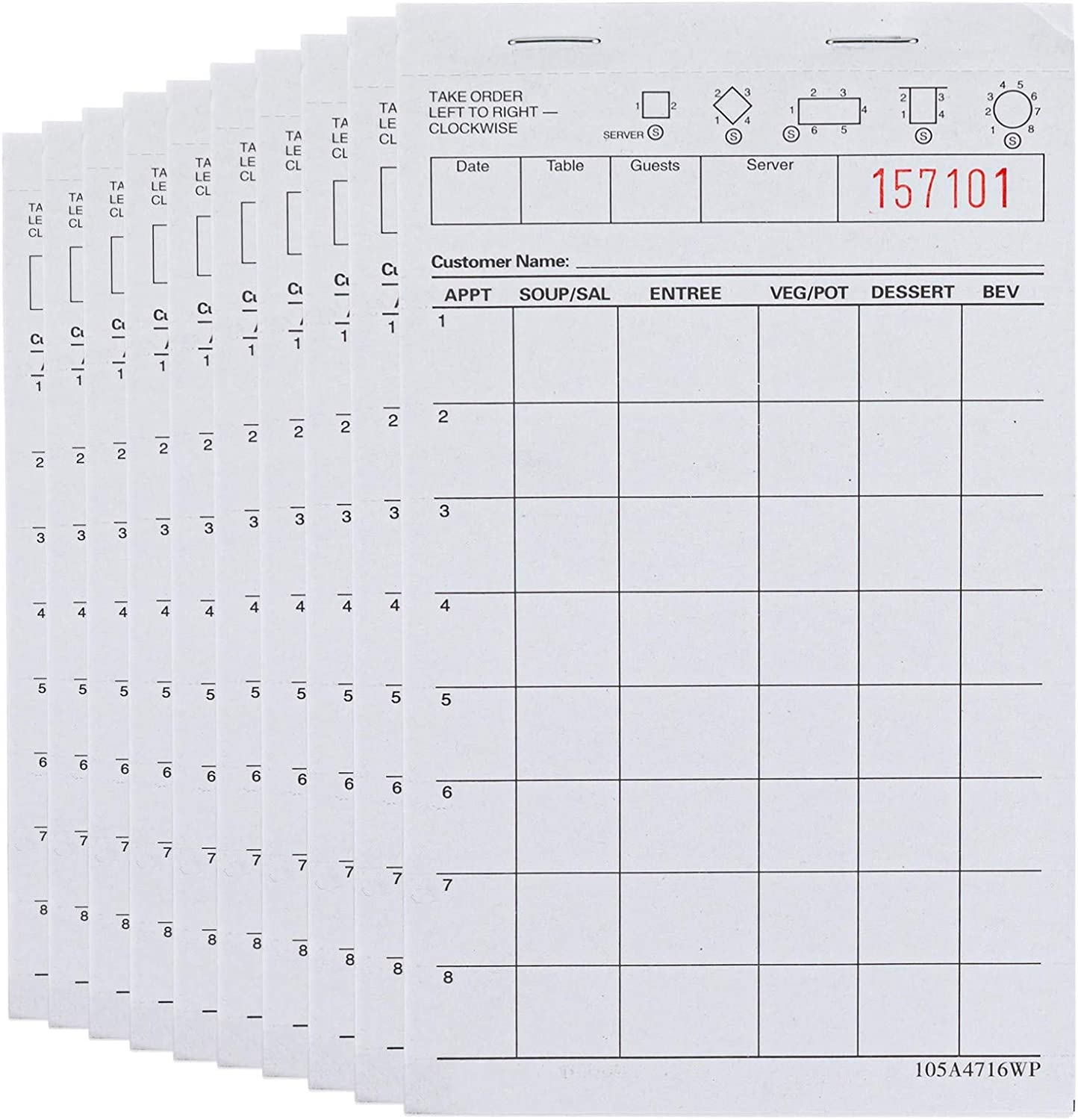 Stock Your Home White Guest Check Pads (10 Count) - 1 Part Guest Check Pads - Server Notepads and Waitress Order Pads - Check Pads for Diners, Restaurants, Food Trucks, Takeout and Delivery Services