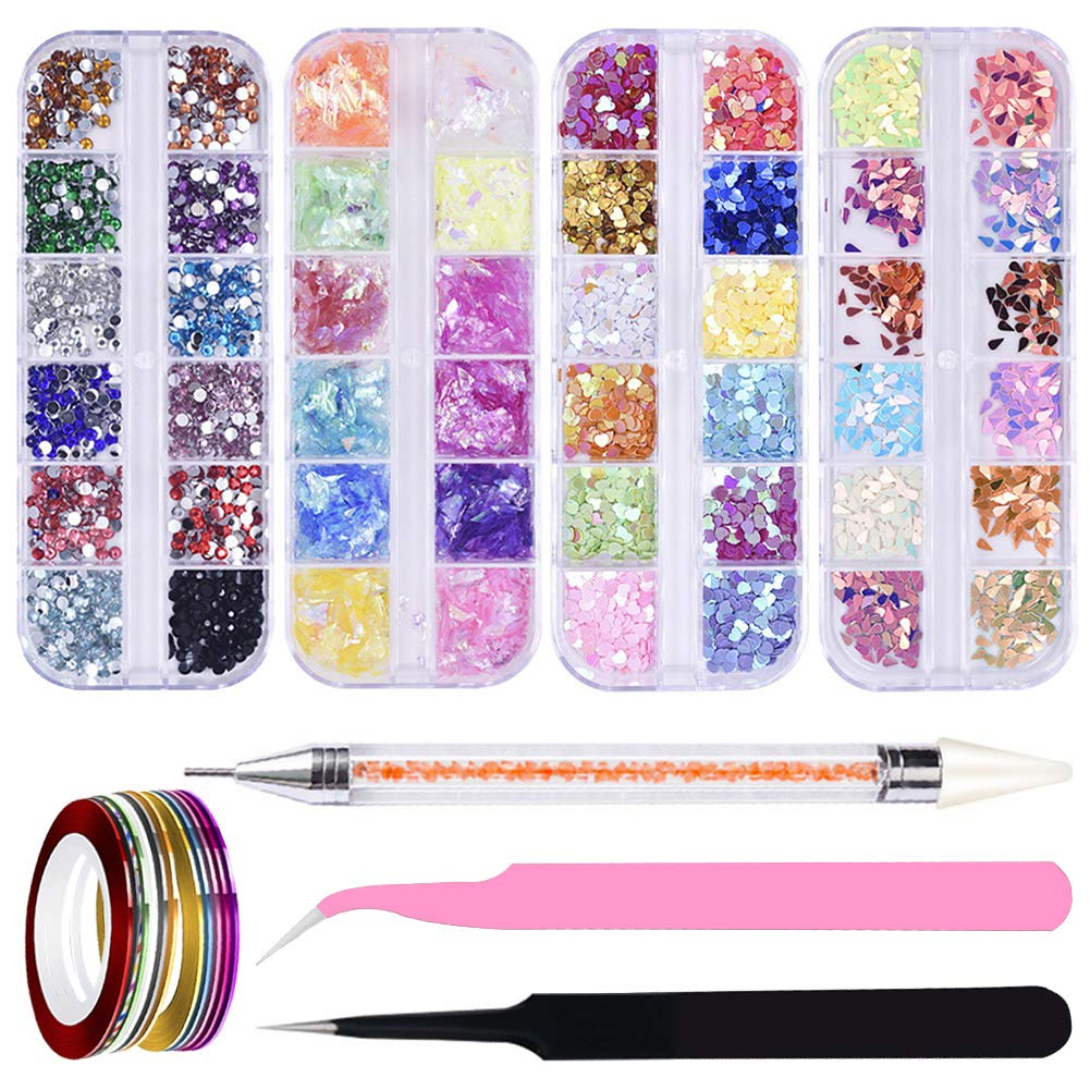 AB Crystal Rhinestones Set 4 Box/Type Nail Art Rhinestones Charms Gems Stones with Storage Organizer Box,2 Tweezers,1 Dotting Pen,11 Nail Striping Tape for Nail Art Clothes Shoes Bags Craft (Multi) by BCMRUN