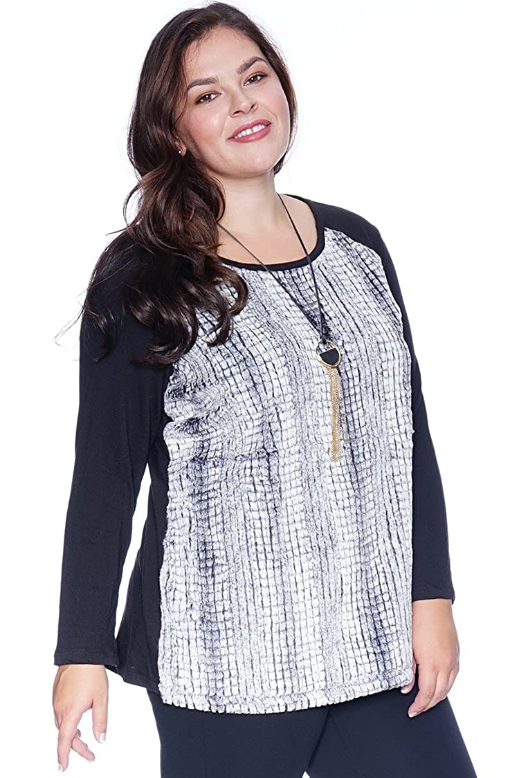 52d9fef66f3 Plus Size Teddy Sweater Black 1X at Amazon Women s Clothing store