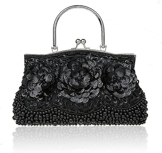 Elegant White Black Beads Clutch Party Purse Evening Bag Kiss Closure 2 Colors