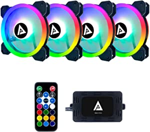 Apevia TL412L-RGB Twilight 120mm Silent Dual-Ring Addressable RGB Color Changing LED Fan for Gaming with Remote Control, 28x LEDs & 8X Anti-Vibration Rubber Pads (4-pk)