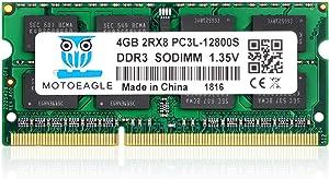 4GB DDR3L-1600 SODIMM PC3L-12800S, Motoeagle 204-pin 2Rx8 PC3 12800S Dual Rank 1.35V Laptop Memory