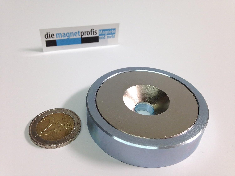 Neodym Flachgreifer Topfmagnet /Ø 40x8.0 mm mit Bohrung und konischer Senkung Haftkraft 50 kg