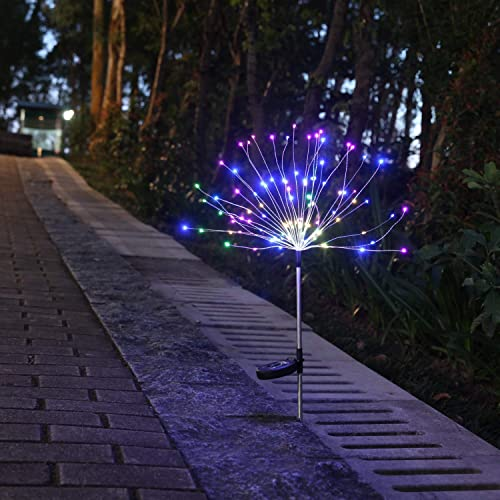 Solar Garden Decorative Lights, Solar Powered 105 LED Firework Copper Lights, 2 Modes Fairy Lights for Walkway Patio Lawn Backyard, Christmas Party Decoration