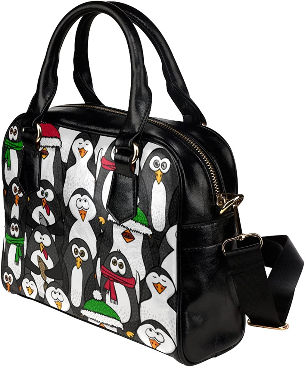 CASECOCO Funny Black Penguin Womens PU Leather Purse Handbag Shoulder Bag