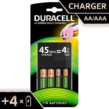 fb0a21435 Duracell - Cargador de Pilas de 45 Minutos, Incluye Pilas, 2 AA + 2 AAA