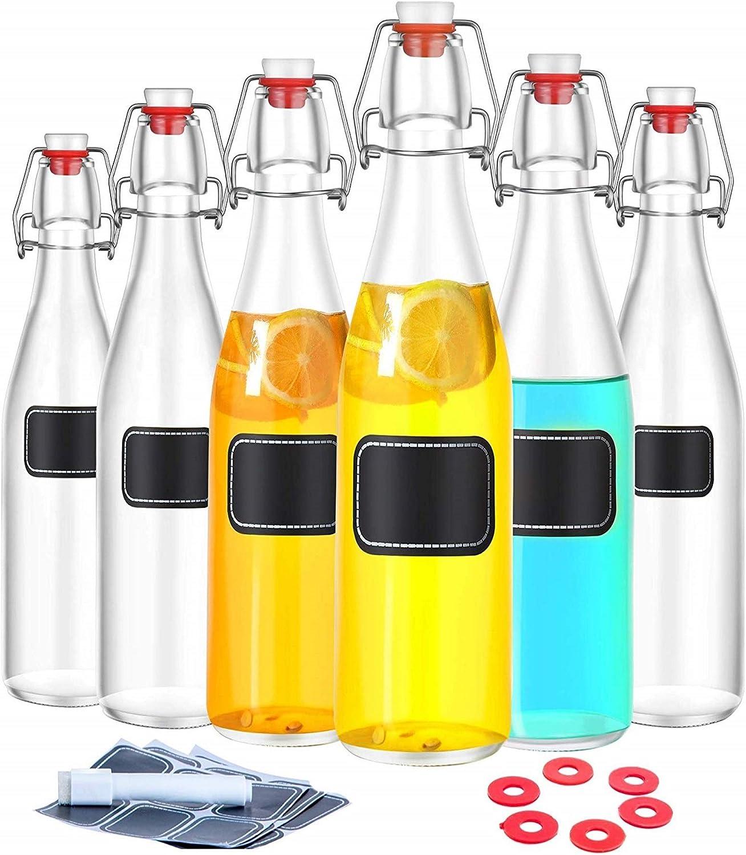 Praknu - Botellas de Cristal (6 Unidades, 250 ml, con Cierre, 6 Juntas, Incluye 12 Etiquetas con lápiz)