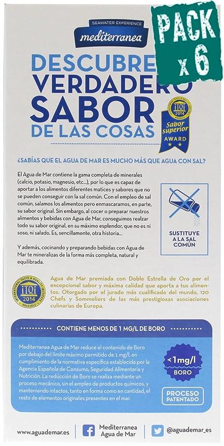 Pack de 6 uds Agua de mar alimentaria Mediterranea, envase de 2 Litros, contiene 78 minerales y oligoelementos, sin necesidad de añadir sal, realza el sabor ...