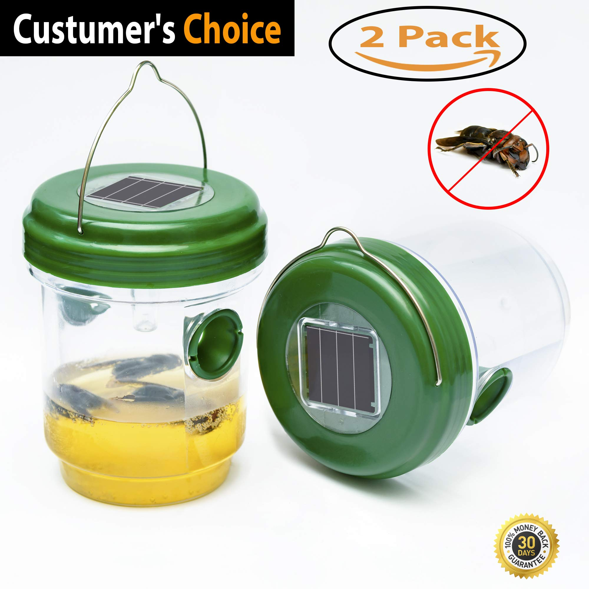 Hornet Traps For Outdoors, Bee Traps Yellow Jackets, Wasp Trap, Bee Catcher, YellowJacket Trap, Wasp and Hornet Trap, Wasp Killer Trap Ultraviolet LED Light Waterproof Trapping Hornet, 2 PACK