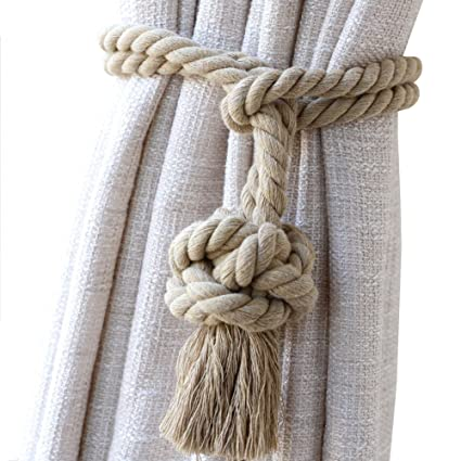Chictie Cotton Knot Ball Curtain Tassels Ropes Cords Nautical Rural Hand Knitting Decorative Artwork Drapes
