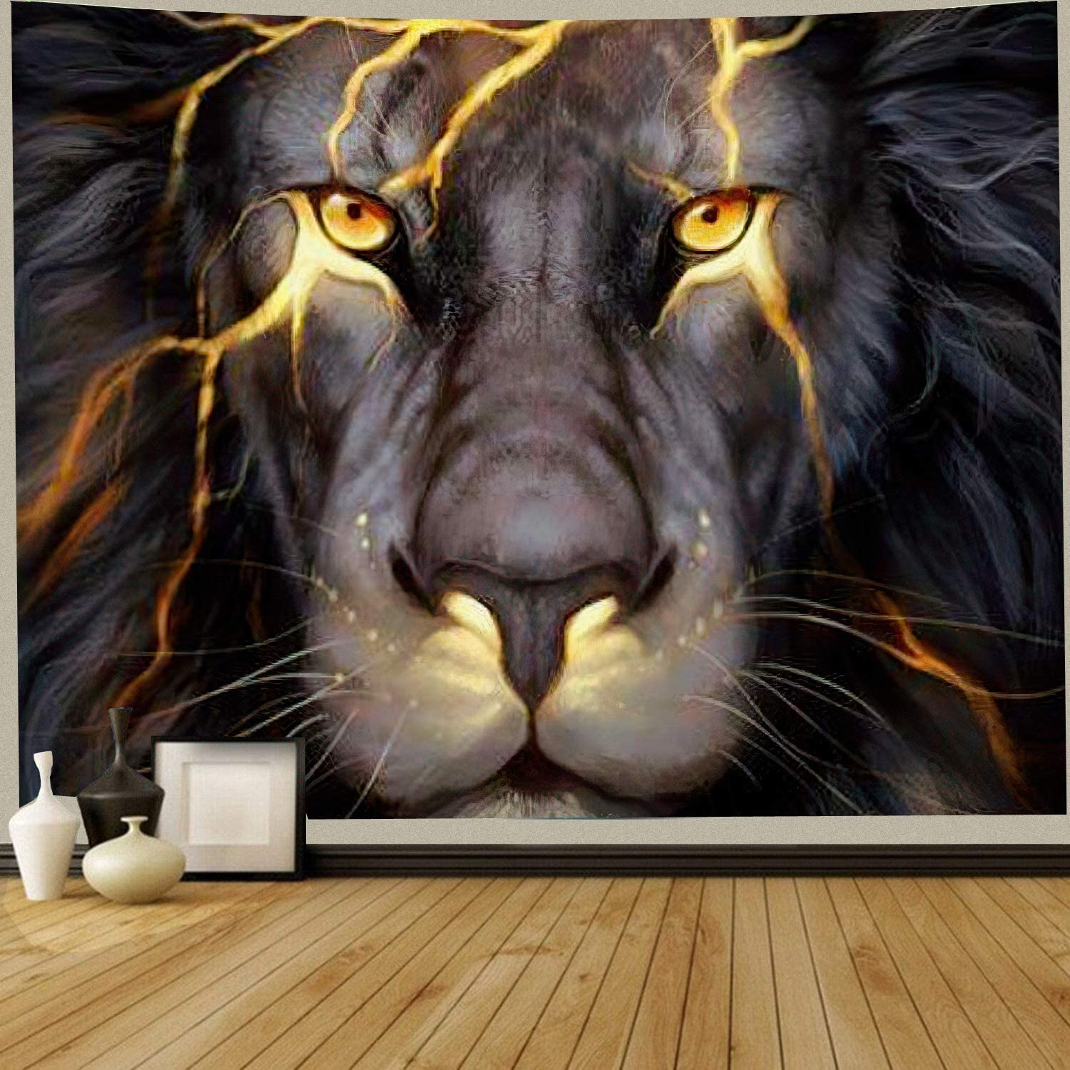 Cool Lion Tapestry Wall Hanging, Black and Gold African Lion Tapestries, Boys Tapestry Fantasy Animal Room Wall Decor Tapestry, Leo Wall Art for Bedroom Living Room Dorm,Men Gift, 60''X40''
