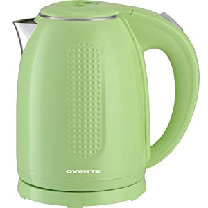 Ovente 1.7L Electric Kettle, Double Wall 304 Stainless Steel Water Boiler, Auto Shut-Off and Boil-Dry Protection, Stay-Cool Exterior, BPA-Free, Cordless (Green)