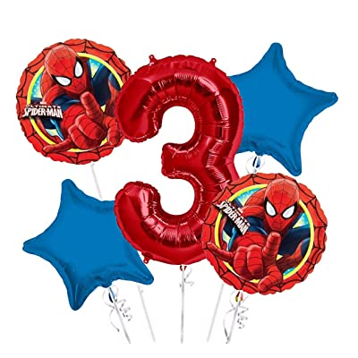 Spiderman Balloon Bouquet 3rd Birthday 5 pcs - Party Supplies: Toys & Games