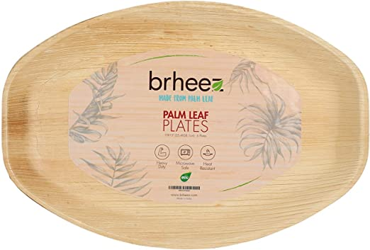 brheez Palm hojas desechables bambú como Oval 15 x 10 cm – Color ...