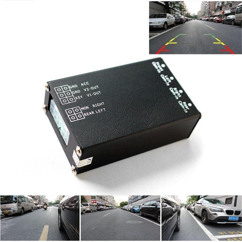 4-Way 360° Monitoring Car Parking View Camera Image Split-Screen Control Box Kit