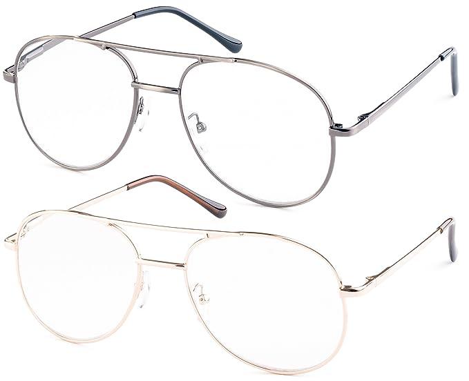 3f06012c07 Amazon.com  Metal Aviator Reading Glasses for Reading (Gunmetal ...